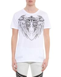 Balmain White Native American-Print Cotton T-Shirt for men