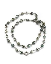 David Yurman | Metallic Pre-Owned: Sterling Silver And Black Rhodium Tahitian Pearl Necklace With Diamond Link And Toggle | Lyst