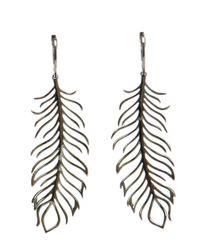 Rosa De La Cruz Black 18k Gold And Diamond Feather Earrings