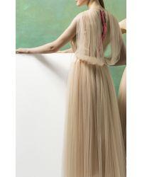 Delpozo Natural Sleeveless Draped Tulle Dress