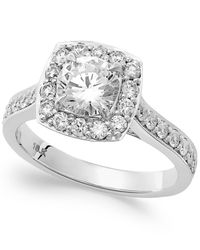 Macy's | 18K White Gold Certified Diamond Halo Engagement Ring (1-1/2 Ct. T.W.) | Lyst