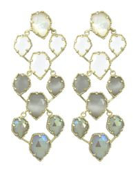 Kendra Scott | White Clara Earrings In Golden Ice | Lyst