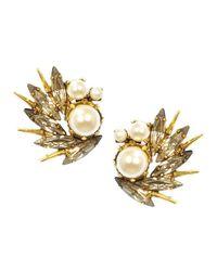 Elizabeth Cole | Metallic Eyelet Earrings, Crystal | Lyst
