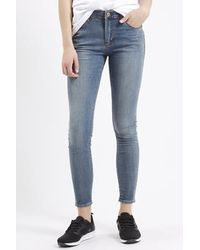 TOPSHOP Gray Moto Vintage Grey Leigh Jeans