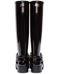 Dolce & Gabbana Black Harness Rain Boots