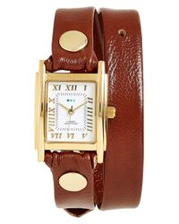 La Mer Collections - Brown Leather Wrap Watch - Lyst
