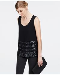 Ann Taylor | Black Sequin Striped Tank | Lyst