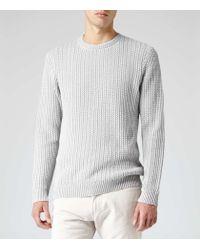 Reiss - Gray Peak Contrast Weave Jumper for Men - Lyst