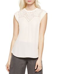 Vince Camuto | White Lace-inset Top | Lyst