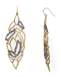 Alexis Bittar Gray Crystal Embellished Lacy Leaf Wire Earrings