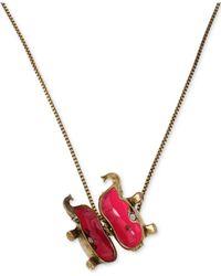 Betsey Johnson | Metallic Brass-Tone Elephant Locket Pendant Necklace | Lyst