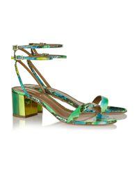 Aquazzura - Green Tropical Girl Elaphe Sandals - Lyst