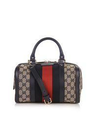 Gucci | Gray Vintage Web Gg Canvas Mini Bowling Bag | Lyst