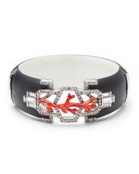 Alexis Bittar Black Coral Deco Rhodium Framed Hinged Bracelet