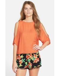 Rip Curl Orange 'sweet Dreams' Cold Shoulder Shirt
