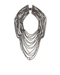 BCBGMAXAZRIA | Metallic Draped Stone And Chain Necklace | Lyst