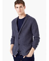 Mango | Blue Waffle-knit Wool-blend Cardigan for Men | Lyst