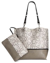 Calvin Klein | Gray Reversible Snake Tote With Pouch | Lyst