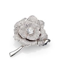 kate spade new york | Metallic Rose Garden Pave Crystal Brooch | Lyst