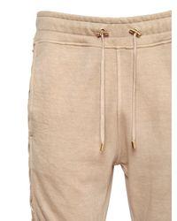Balmain Natural Lace-up Cotton Jersey Jogging Pants for men