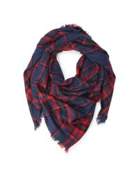 Forever 21 - Blue Frayed Plaid Scarf You've Been Added To The Waitlist - Lyst