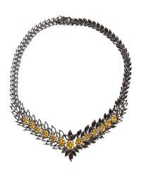 Iosselliani - Metallic Statement Zircon Gunmetal Necklace - Lyst