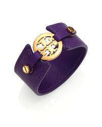 Tory Burch | Purple Logo Medallion Leather Cuff Bracelet | Lyst