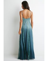 Forever 21 - Blue Lace-paneled Maxi Dress - Lyst