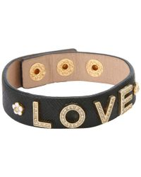 Juicy Couture | Black Love and Daisy Stud Leather Bracelet | Lyst
