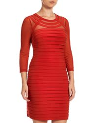 Adrianna Papell - Red Long Sleeve Bandeau Dress - Lyst