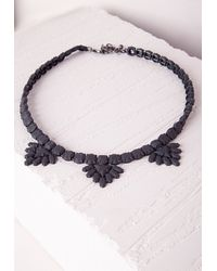 Missguided   Matte Casted Necklace Black   Lyst