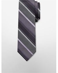 Calvin Klein | Purple White Label Steel Platinum Melange Stripe Tie for Men | Lyst