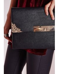 Missguided - Western Detail Trim Clutch Black - Lyst