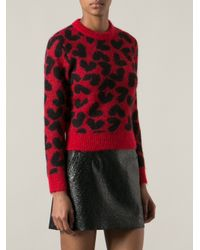 Saint Laurent Red Heart Print Sweater