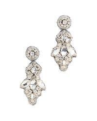 Deepa Gurnani Metallic Crystal Button Drop Earrings - Silver
