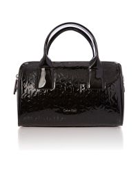 Calvin Klein Maggie Black Patent Embossed Small Bowling Bag