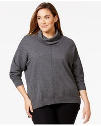 Calvin Klein | Gray Plus Size Ribbed Cowlneck Sweater | Lyst