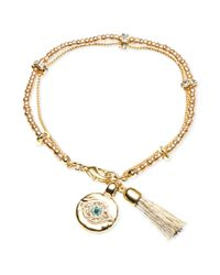 RACHEL Rachel Roy | Metallic 12k Gold Plated Crystal Evil Eye Charm and Tassel Flex Bracelet | Lyst