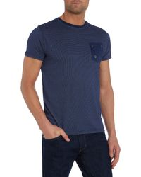 Duck and Cover - Blue Textured Crew Neck Regular Fit T-shirt for Men - Lyst