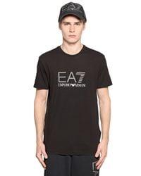 EA7 Black Logo Printed Cotton Jersey T-shirt for men