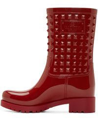 Valentino Red Stud Welly