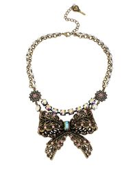 Betsey Johnson Pink Crystallized Vintage Bow Tworow Necklace