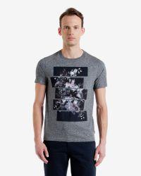 Ted Baker - Gray Split Floral Graphic T-shirt for Men - Lyst