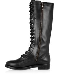 Schutz Black Lace-up Leather Knee Boots