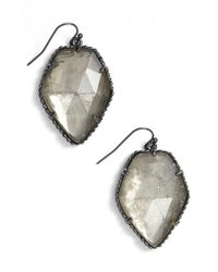 Kendra Scott | Metallic 'corely' Drop Earrings - Gunmetal/ Mirror Rock Crystal | Lyst