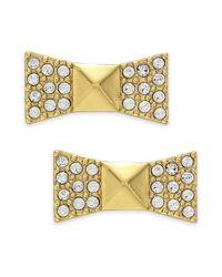 kate spade new york - Metallic New York Earrings 12k Goldplated Pave Crystal Bow Stud Earrings - Lyst