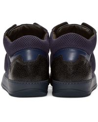 Lanvin - Blue Navy Leather & Mesh Mid-top Sneakers for Men - Lyst