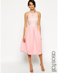 ASOS | Pink Tall Lace Top Scuba Skater Midi Dress | Lyst