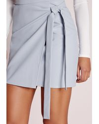 Missguided - Gray Wrap Front Faux Leather Mini Skirt Grey - Lyst