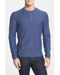 Robert Barakett | Blue 'horace' Long Sleeve Cotton Henley for Men | Lyst